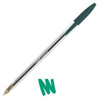 Image for Bic Cristal Ball Pen Clear Barrel 1.0mm Tip 0.4mm Line Green Ref 8373629 [Pack 50]