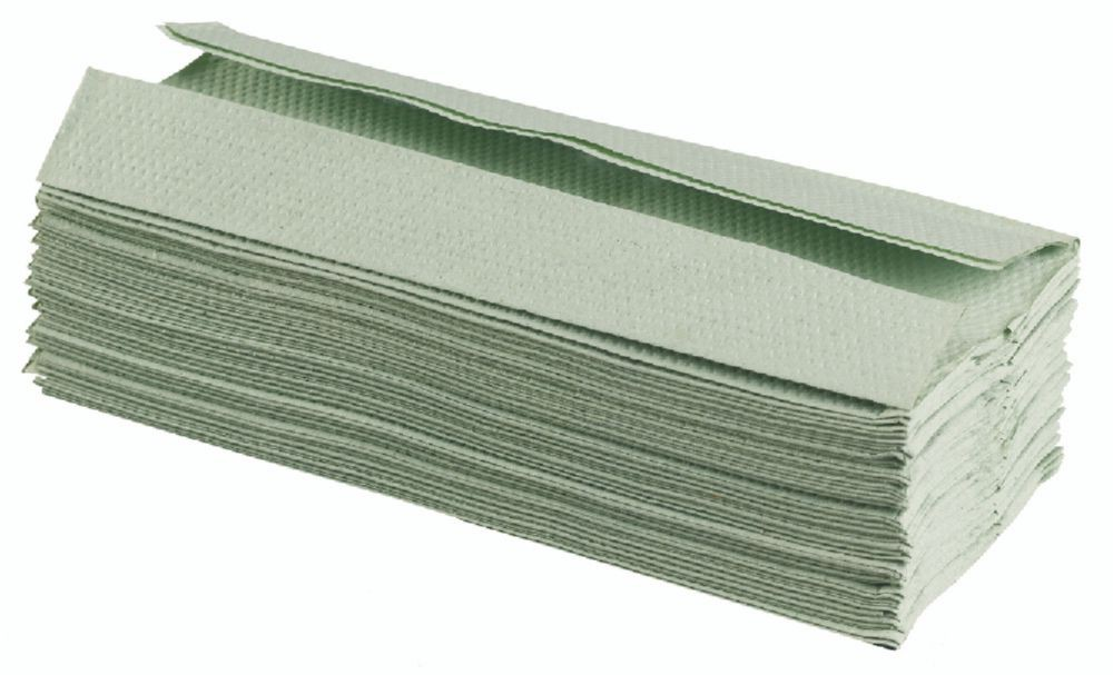 C Fold Hand Towels Green 1ply 100% Recycled Packed 144