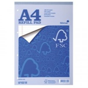Silvine Refill Pad FSC Paper Feint Headbound Ruled Margin 4-Hole Punched 80 Sheet A4 Ref FSCRP80 [Pack 5]