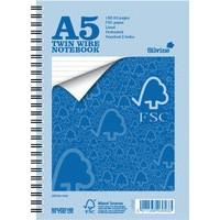 Silvine Notebook Wirebound FSC Paper Feint Ruled 160pp A5 Ref FSCTWA5 [Pack 5]