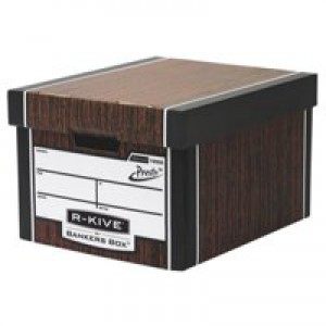 Fellowes R-Kive Premium 725 Classic Storage Box Woodgrain Size W330xD381xH254mm Ref 7250502 [Pack 10]