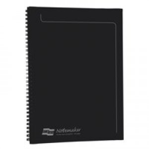 Europa Notemaker Book Sidebound Ruled 80gsm 120 Pages A4 Black Pack 10