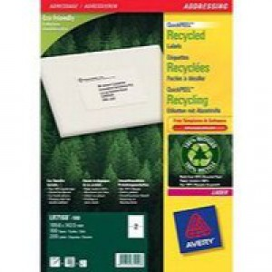 Avery Addressing Laser Labels Recycled 1 per Sheet 199.6x289.1mm White 100 Labels Code LR7167-100