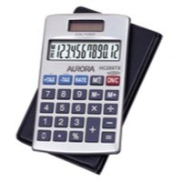 Aurora Calculator Handheld Tax Programmable Solar and Battery Power 12 Digit 3 Key Memory Ref HC208TX