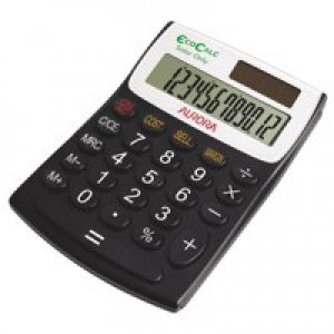 Aurora EcoCalc Calculator Desktop Recycled Solar Powered 12 Digit 3 Key Memory Ref EC404