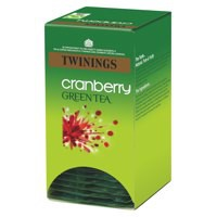 Twinings Infusion Tea Bags Individually-wrapped Green Tea and Cranberry Ref A07567 [Pack 20]