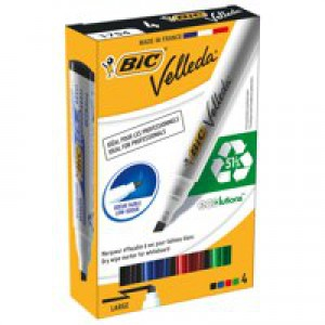 Bic Velleda 1751/1754 Whiteboard Marker Chisel Tip Line Width 3.7-5.5mm Assorted Ref 904950 [Pack 4]