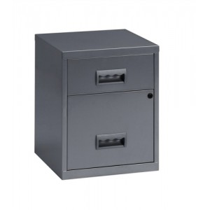 Combi Filing Unit Cabinet Steel Lockable 2 Drawers A4 Silver
