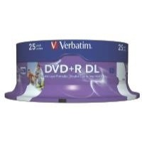 Verbatim DVD+R Recordable Disk Double Layer Printable Spindle 8x 240min 8.5Gb Ref 43667 [Pack 25]