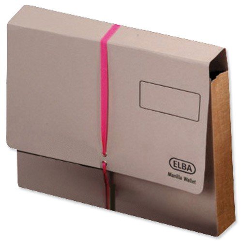 Elba Legal Deed Wallet Manilla 100mm 1000sheet Foolscap Buff with Pink Ribbon Ref 100080793 [Pack 25]