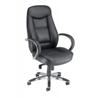 Image for Adroit Executive Languedoc Armchair Back H720mm W550xD530xH480-560mm Leather Black Ref 10488-01