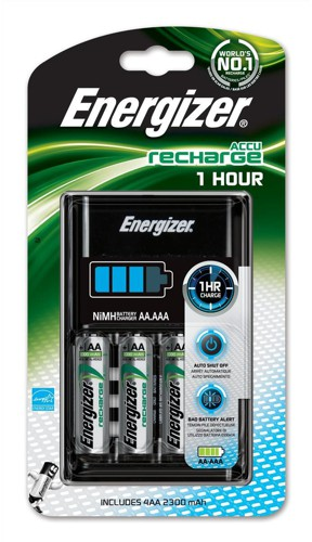 Energizer 1Hour Battery Charger Fast-charging Accu with 4x AA 2300mAh Batteries Code 637123