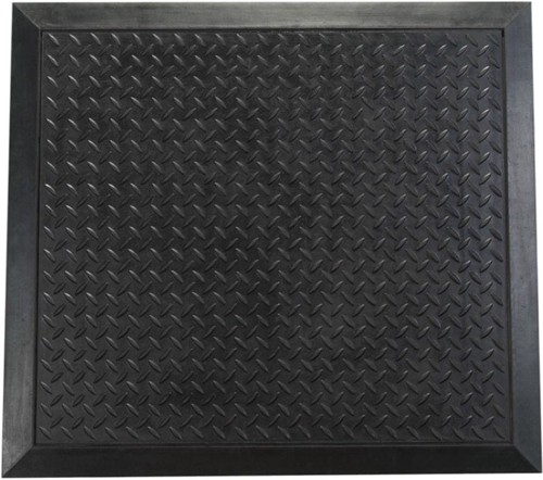 Mat Rubber Anti Fatigue Textured Anti Slip Bevelled Edge 710x780mm Ripple Pattern