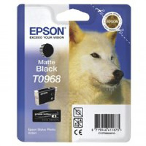 Epson T0968 Inkjet Cartridge UltraChrome K3 Husky Page Life 495pp Matt Black Ref C13T09684010