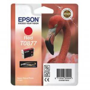 Epson T0877 Inkjet Cartridge UltraChrome Hi-Gloss2 Flamingo Page Life 915pp Red Ref C13T08774010