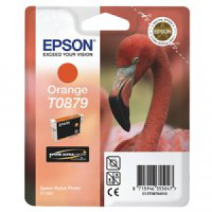 Epson T0879 Inkjet Cartridge UltraChrome Hi-Gloss2 Flamingo Page Life 1215pp Orange Ref C13T08794010