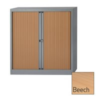 Bisley A4 EuroTambour Including 2 Shelves W1000xD430xH1030mm Beech Shutters Silver Frame Ref ET410/10/2SB