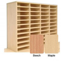 Image for Tercel Post Room Sorter Hutch Add-on Single Height 4 Bay Can Fit 24 Shelves W1280xD360xH620mm Beech