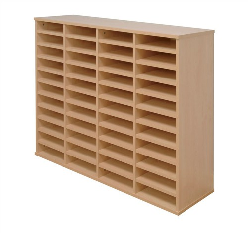 Tercel Post Room Sorter Hutch Multi-use Double Height 4 Bay Can Fit 44 Shelves W1280xD360xH1163mm Beech