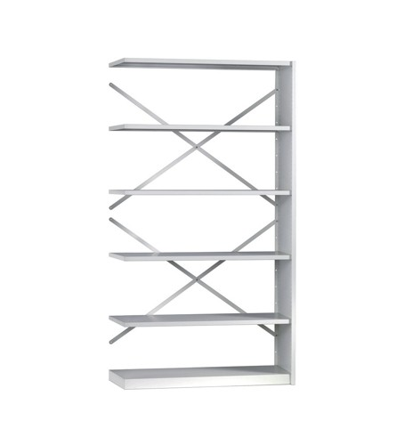 Trexus Delta Office Shelving System Extension Bay Standard Depth 6 Shelves Activecoat W1000xD300xH1880mm