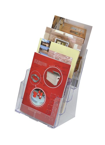 Literature Display Holder Multi Tier for Wall or Desktop 4 x A4 Pockets Clear