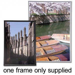 Photo Frame Wall Mounted with Styrene Front Silver A3
