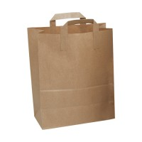 Image for Ambassador Brown Paper Carrier Bags Flat Handle W254xD140xH300mm Ref SOSLGEB [Pack 250]