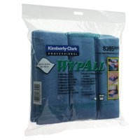 Wypall Microfibre Cleaning Cloths for Dry or Damp Multisurface Use Blue Ref 8395 [Pack 6]