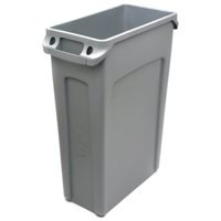 Rubbermaid Slim Jim Recycling Bin with Venting Channels W558xD279xH762mm 87 Litres Grey Ref 3540-60
