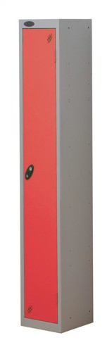 Trexus Plus 1 Door Locker Nest of 1 Extra Depth ACTIVECOAT W305xD460xH1780mm Silver Red Ref