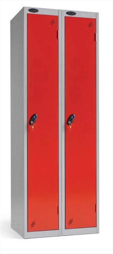 Trexus Plus 1 Door Locker Nest of 2 Extra Depth ACTIVECOAT W305xD460xH1780mm Silver Red Ref