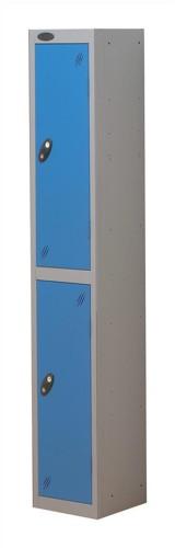 Trexus Plus 2 Door Locker Nest of 1 ACTIVECOAT W305xD305xH1780mm Silver Blue Ref