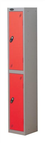 Trexus Plus 2 Door Locker Nest of 1 ACTIVECOAT W305xD305xH1780mm Silver Red Ref