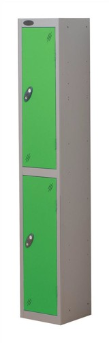 Trexus Plus 2 Door Locker Nest of 1 ACTIVECOAT W305xD305xH1780mm Silver Green Ref