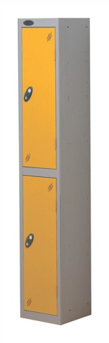 Trexus Plus 2 Door Locker Nest of 1 ACTIVECOAT W305xD305xH1780mm Silver Yellow Ref