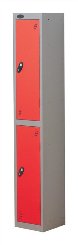Trexus Plus 2 Door Locker Nest of 1 Extra Depth ACTIVECOAT W305xD460xH1780mm Silver Red Ref