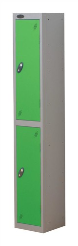 Trexus Plus 2 Door Locker Nest of 1 Extra Depth ACTIVECOAT W305xD460xH1780mm Silver Green Ref
