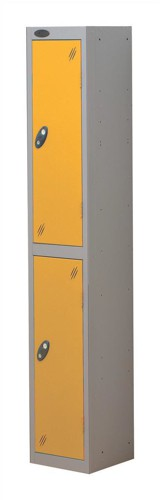 Trexus Plus 2 Door Locker Nest of 1 Extra Depth ACTIVECOAT W305xD460xH1780mm Silver Yellow Ref