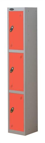Trexus Plus 3 Door Locker Nest of 1 ACTIVECOAT W305xD305xH1780mm Silver Red Ref