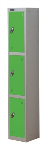Trexus Plus 3 Door Locker Nest of 1 ACTIVECOAT W305xD305xH1780mm Silver Green Ref