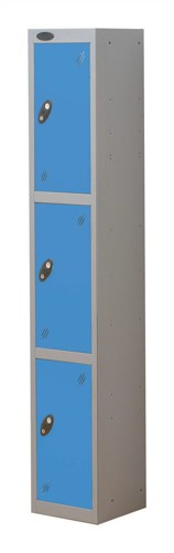 Trexus Plus 3 Door Locker Nest of 1 Extra Depth ACTIVECOAT W305xD460xH1780mm Silver Blue Ref