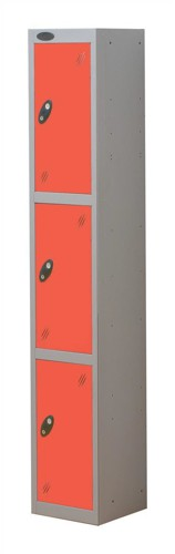 Trexus Plus 3 Door Locker Nest of 1 Extra Depth ACTIVECOAT W305xD460xH1780mm Silver Red Ref