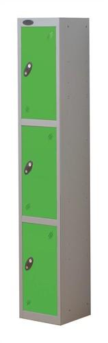 Trexus Plus 3 Door Locker Nest of 1 Extra Depth ACTIVECOAT W305xD460xH1780mm Silver Green Ref