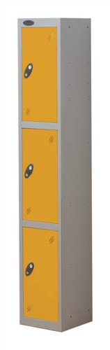 Trexus Plus 3 Door Locker Nest of 1 Extra Depth ACTIVECOAT W305xD460xH1780mm Silver Yellow Ref