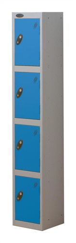 Trexus Plus 4 Door Locker Nest of 1 ACTIVECOAT W305xD305xH1780mm Silver Blue Ref