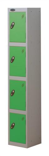 Trexus Plus 4 Door Locker Nest of 1 ACTIVECOAT W305xD305xH1780mm Silver Green Ref