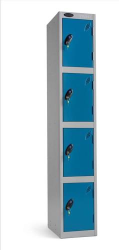 Trexus Plus 4 Door Locker Nest of 1 Extra Depth ACTIVECOAT W305xD460xH1780mm Silver Blue Ref