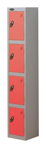 Trexus Plus 4 Door Locker Nest of 1 Extra Depth ACTIVECOAT W305xD460xH1780mm Silver Red Ref