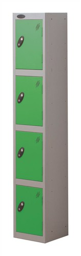 Trexus Plus 4 Door Locker Nest of 1 Extra Depth ACTIVECOAT W305xD460xH1780mm Silver Green Ref