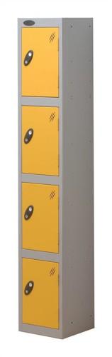 Trexus Plus 4 Door Locker Nest of 1 Extra Depth ACTIVECOAT W305xD460xH1780mm Silver Yellow Ref